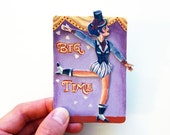Burlesque Dancing, Circus Acrobatic Lady, One of a Kind Art Magnet for Gift Giving, Retro Vintage Play & Decor