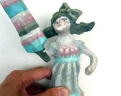 Paper Mache, Ice Cream Popsicle Girl, Art Doll for Summer Gift Giving, Retro Vintage Play & Decor