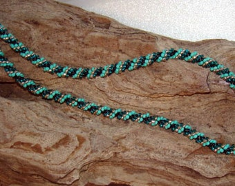Sale -Reg. 25.00 - Unisex Spiral Weave Beaded Rope Necklace Turquoise Black Silver             1.99 SHIPPING USA