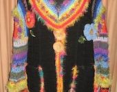 Reserved for Cheryl - Custom Cozy Technicolor Sweater Dream Coat, Head/Earwarmer and Fingerless Gloves