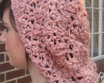 Crochet Snood, Elizabethan Pink Eco Friendly Yarn made from recycled Milk Jugs, surprisingly soft, Renaissance Fair or anytime