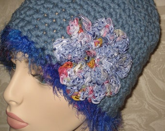 Blue Acrylic Hat/Cloche w/Collinette Ribbon Rose, ready to ship