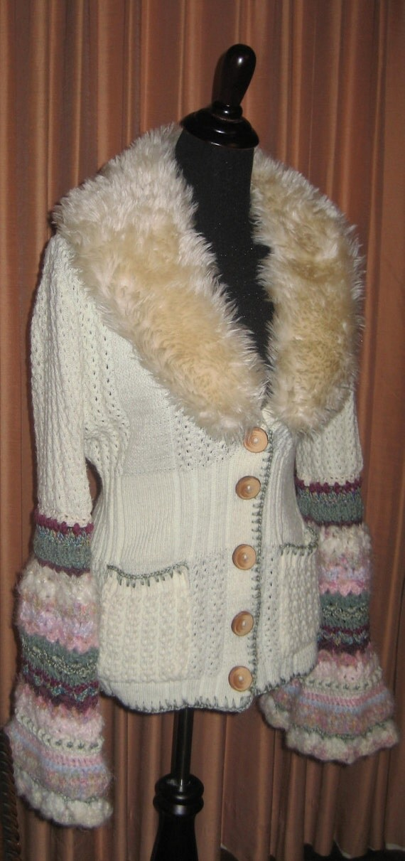 1970's Recycled Cream Vintage Cardigan, Secret Garden, Weasley Half Sleeve, Available Now - Price Discounted