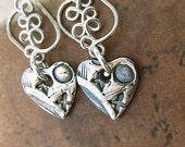 eco-friendly silver heart earrings, sterling and fine silver - HUGS AND KISSES