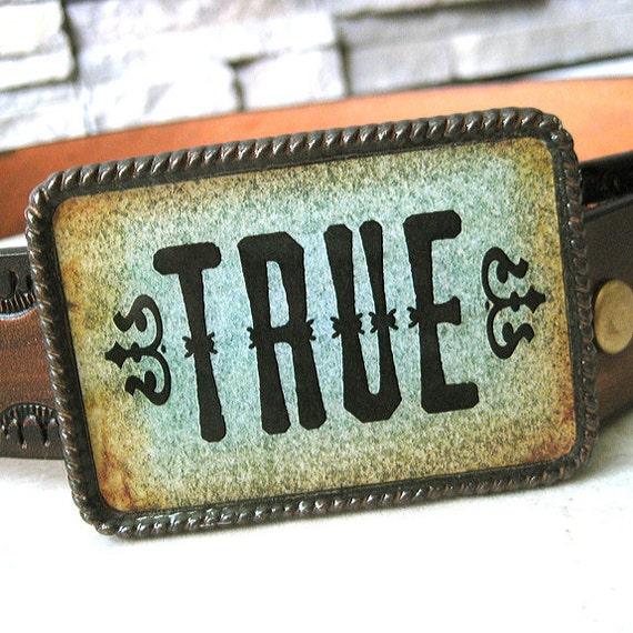 CLEARANCE - True Blue belt buckle, men's, women's western blue rustic, cowboys, cowgirls, boho