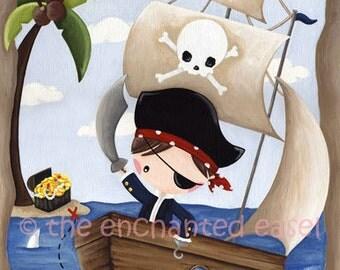 Art Print, Boys Room, Pirate, Nursery Art, Monkey, Boys Wall Art, Whimsical, Illustration, Kids Room