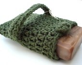 Crocheted Soap Saver - OLIVE LEAF