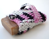 Crocheted Soap Saver - BLACK CHERRY