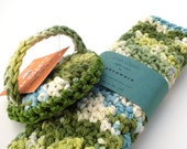 Dish Scrubbie and Dish Cloth set  - BLUE ALGAE