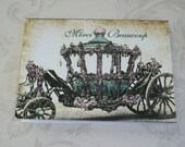 CINDERELLA CARRIAGE - Merci Beaucoup - 8 romantic notecards with envelopes - Princess Coach - Thank you cards - R37