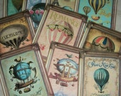 HOT AIR BALLOONS - A set of 12 notecards with envelopes - Your choice of flat or folded cards - V 1912