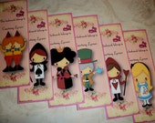 ALICE in WONDERLAND - Birthday Favors - Set of 6 Personalized Laminated Bookmarks - Stocking Stuffers - AL 449