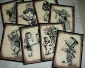 ALICE in WONDERLAND - Whimsical - 8 notecards with envelopes - Sepia colored - Click on all photos - ALW 234