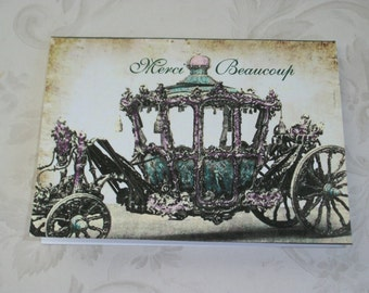 CINDERELLA CARRIAGE - Merci Beaucoup - Set of 8 romantic notecards with envelopes - Princess Coach - Thank you cards - R37