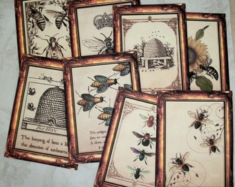 Queen Bee Whimsical - BEES - Copper PAPER frame - Very Elegant - Country -  Gift Tags or Notecards and envelopes - R18897