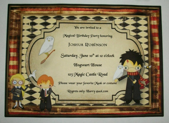 harry potter wizards birthday party custom invitations by, Birthday invitations