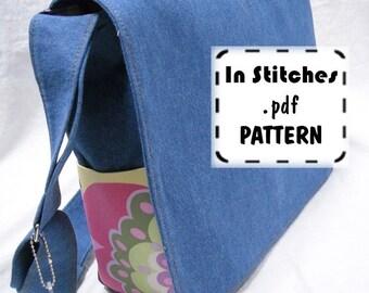 PDF Purse Pattern Lizzie Bag Cross-Body Messenger Tutorial EASY Instructions Large Shoulder Bag