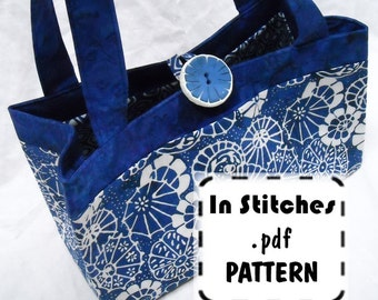 Charmer Tote PDF Purse Pattern Reversible Shoulder Bag EASY Instructions Tutorial