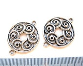 Antiqued Silver 25mm Round Connectors/Links, Set of 2, 1055-19
