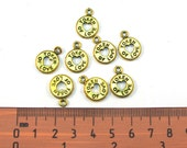 Antiqued Gold  Metal 20mm x 14mm  TOKEN of LOVE Charms, Set of 9, 1035-11-2