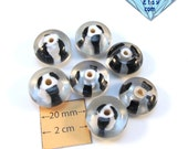 Black and White Art Lampwork Czech Glass Beads, Set of 7, 1029-30
