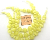 Light Yellow Cat Eye Glass 8mm x 5mm Rondelle and 4mm Round Beads, Sold per 6 inches Strand, 1065-19
