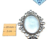 Antiqued Silver 55mm x 45mm Oval Vintage Style Cabochon Setting or Photo Frame Pendant, inner size 32mm x 24mm , DIY, 1067-05