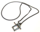 Gunmetal Chain 19 inches Necklace with a Decorative Toggle Clasp, Just Add Charms, Dangles or Beads, A095-1
