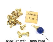 Gold Metal Vintage 10mm x 8mm Coiled Wire Bead Cone/Cap, Set of 12, 1079-11