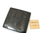Black Carved Horn 50mm x 50mm Square Pendant, 1025-20