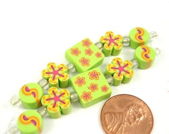 Spring Flowers Polymer Clay Beads ,Set of 10, 1040-07