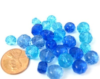 Blue Round Crystal Glass Beads Mix Set of 26 (B1021)