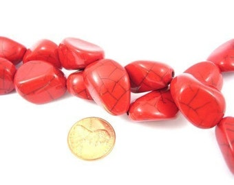 Red Color Large ''Nugget'' Acrylic Beads Set of 8, 1037-06