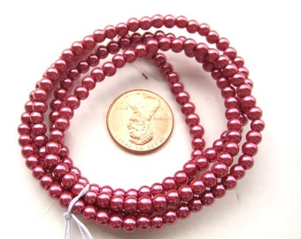 Dark Pink Pearlish 4mm Round Beads, Sold per 24 inches Strand, more than 170 pc, 1053-18