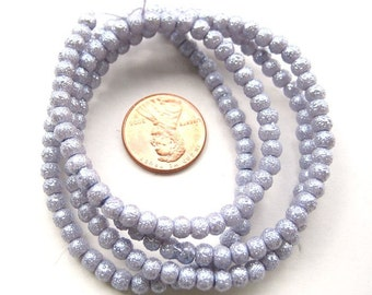 Lavender Textured Pearlish 4mm Round Beads, Sold per 24 inches Strand, more than 170 pc, 1053-27