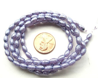 Dark Lavender Textured Pearlish 8mm x 4mm Oval Beads, Sold per 24 inches Strand, more than 95 pc, 1053-25