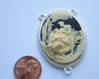 Ivory on Black 40mm x 30mm Cameo Silver Plated Framed Pendant with 3 loops, 1047-13