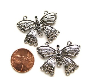 Antiqued Silver 35mm x 25mm Butterfly Connector, Set of 2, 1076-12