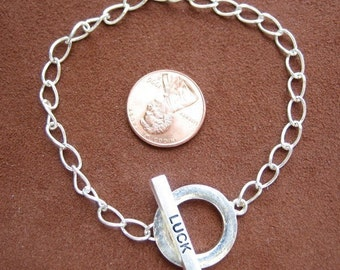 Silver Plated Metal Chain Bracelet with ''LUCK'' Toggle Clasp is ready for Embellishment (A033)