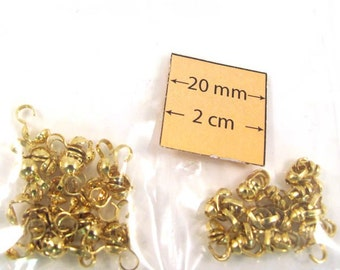 Shiny Gold Metal Two Sizes Clam Shell Bead Ends Sold per pkg of 80 pc, 1058-14