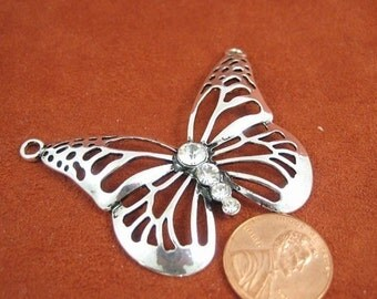 Antiqued Silver Metal and Crystals 60mm x 40mm  Butterfly Pendant, 1007-10