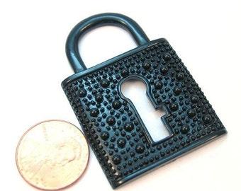 Black Metal Lock Pendant 35mm x 50mm (B1026)
