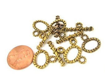 Antiqued Gold Metal 16mm x 16mm Oval Togle Clasp, Set of 5, 1031-07