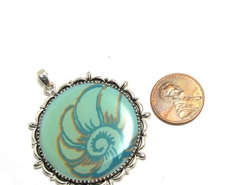 Turquoise Blue Flower Graphic Silver Plated 40mm Round Frame Pendant, 1009-12
