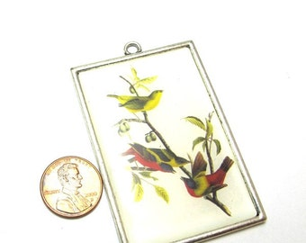 Silver Metal Birds on Branch Graphic, Large 70mm x 40mm Pendant, 1009-25