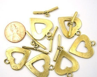 Antiqued Gold Metal 25mm x 20mm  Heart Toggle Clasp, Set of 6, 1025-07