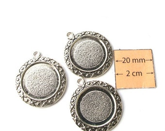 Antiqued Silver 26mm Round Charm  Frame, 19mm Inner Diameter, Sold per 3 pc, 1016-26