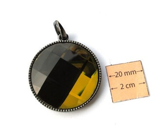 Deep Olive Green Mirrored Faceted Glass 40mm Round Pendant in a Gunmetal Frame, 1016-24