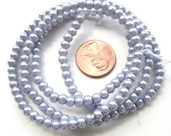 Lavender Pearlish 4mm Round Beads, Sold per 24 inches Strand, more than 170 pc, 1053-26