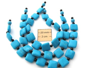 Turquoise (Faux) Stone 12mm x 12mm Flat Square Beads Set of 12, 1011-14